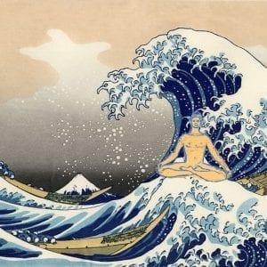 Hokusai wave with Buddha